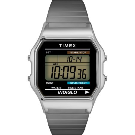 Timex Men's Classic Digital Watch, Silver-Tone Stainless Steel Expansion - Digital Stainless Steel Watch