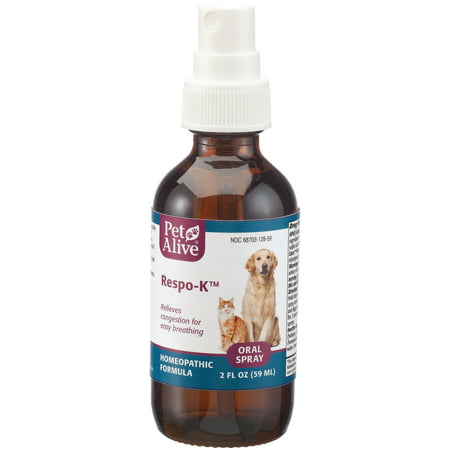 PetAlive Respo-K Oral Spray - Natural Homeopathic Formula for Respiratory and Cold Symptoms in Cats and Dogs - Reduces Symptoms of Sneezing, Coughing, and Watery Eyes and Nose - 59