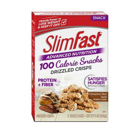 SlimFast Advanced Nutrition 100 Calorie Snacks, Cinnamon Bun Swirl Drizzled Crisps, Pack of 5