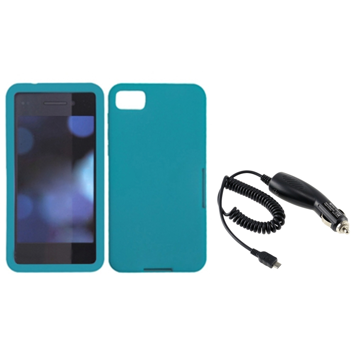 Insten Teal Green Silicone Solid Rubber Skin Cover Case+DC Car Charger For BlackBerry Z10