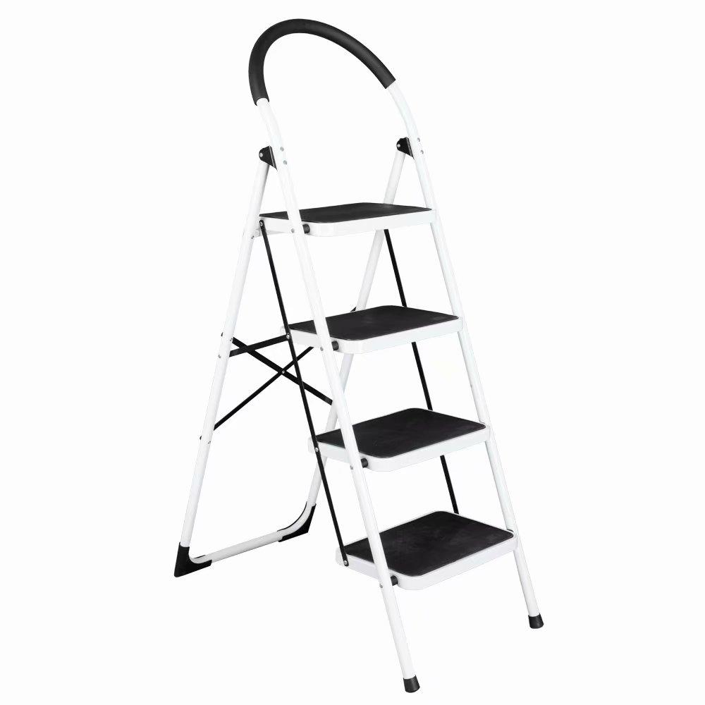 Akoyovwerve Portable Folding 4 Step Ladder Steel Stool 330lb Heavy Duty Industrial Lightweight