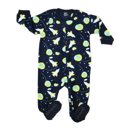 Elowel Little Boys Navy Space Rocket Print Footed Fleece Sleeper Pajama