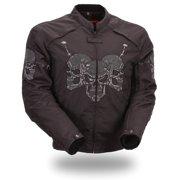 Mens Heavy Duty Nylon Motorcycle Jacket - Reflective Skulls