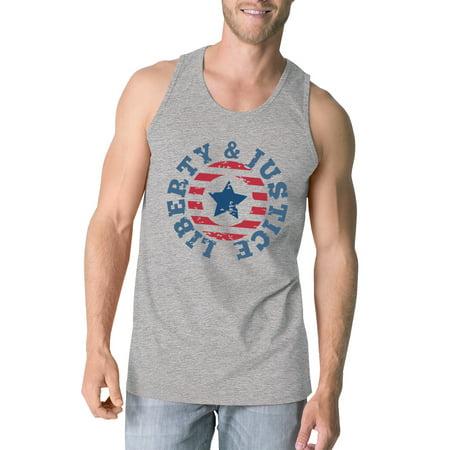 365 Printing Liberty & Justice Grey Sleeveless Tee 4th Of July Tank Top For Men Gray Tank Top Shirt