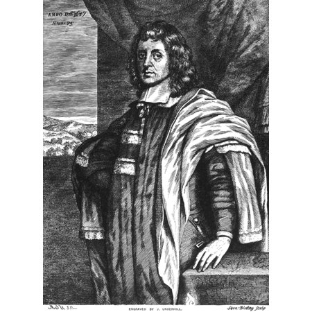 Cecilius Calvert  1605 1675  Nsecond Baron Baltimore Founder Of Maryland Colony Wood Engraving American 1883 Rolled Canvas Art     18 X 24