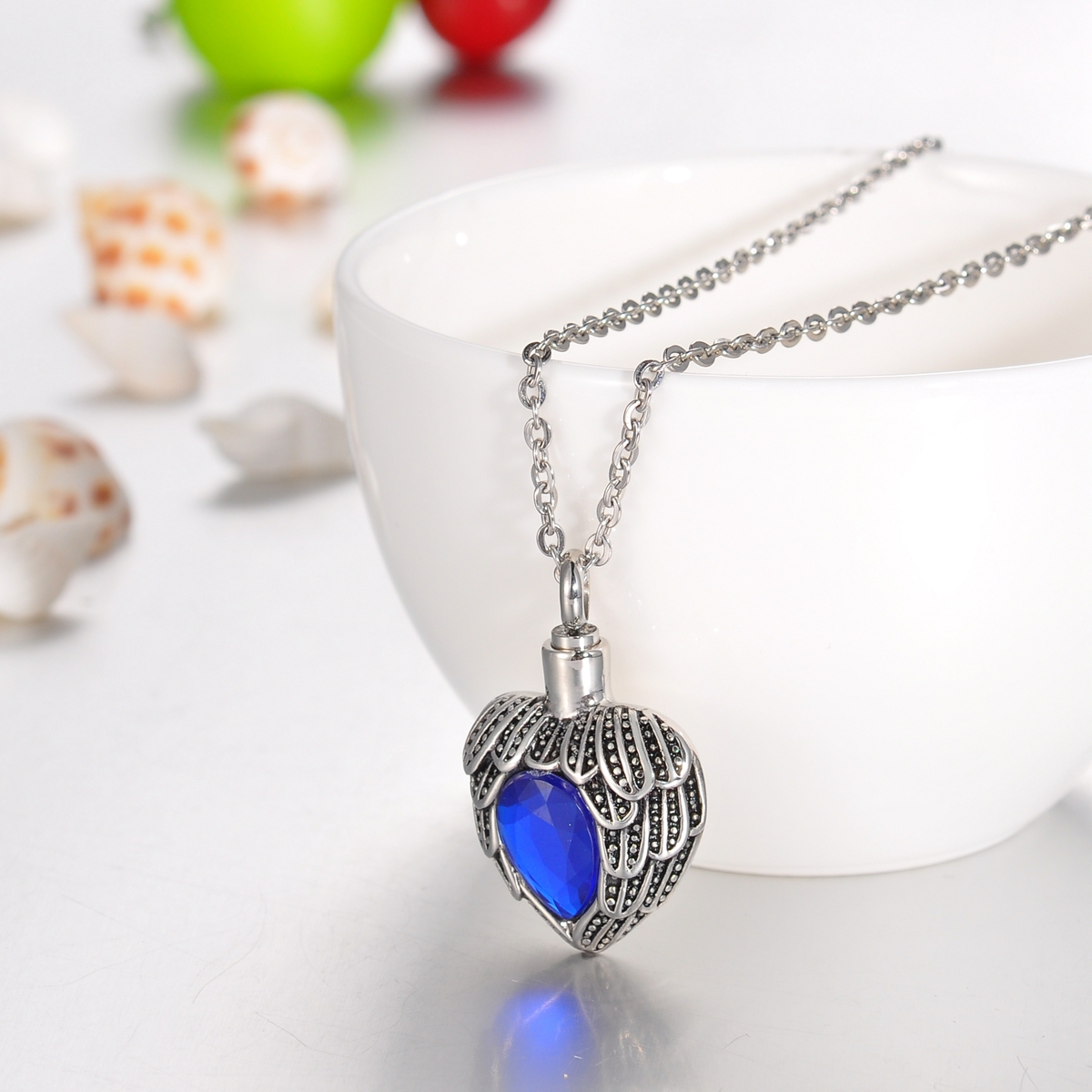 September Sapphire Heart Cremation Jewelry Keepsake Memorial Urn Necklace