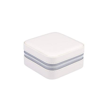 PU Leather Zipper Small Travel Jewelry Organizer/Box/Case/Storage with Mirror (Beige)