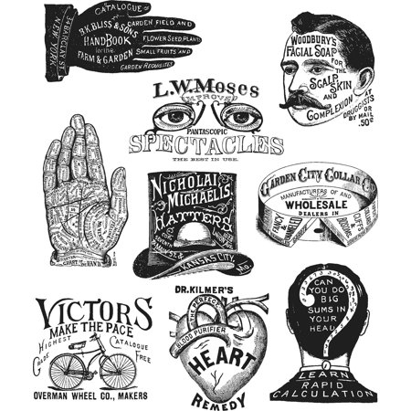 """Tim Holtz Cling Stamps 7""""X8.5""""-Eclectic Adverts - image 1 of 1"""