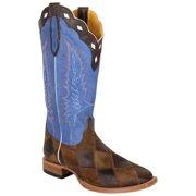 Cinch Mens Patchwork Rustic Royal Blue Square Toe Cowboy Boots