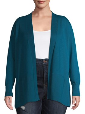 Terra & Sky Women's Plus Size Everyday Essential Open Front Cardigan