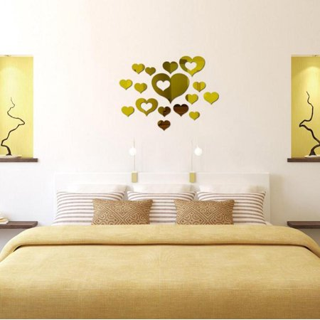 Costyle Modern Mirror Removable Decal Art Lovely Heart Mural Wall Sticker Home Room DIY Decor Gold](Gold Room Decor)