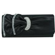 Black Satin Evening Clutch Bag With Rhinestones