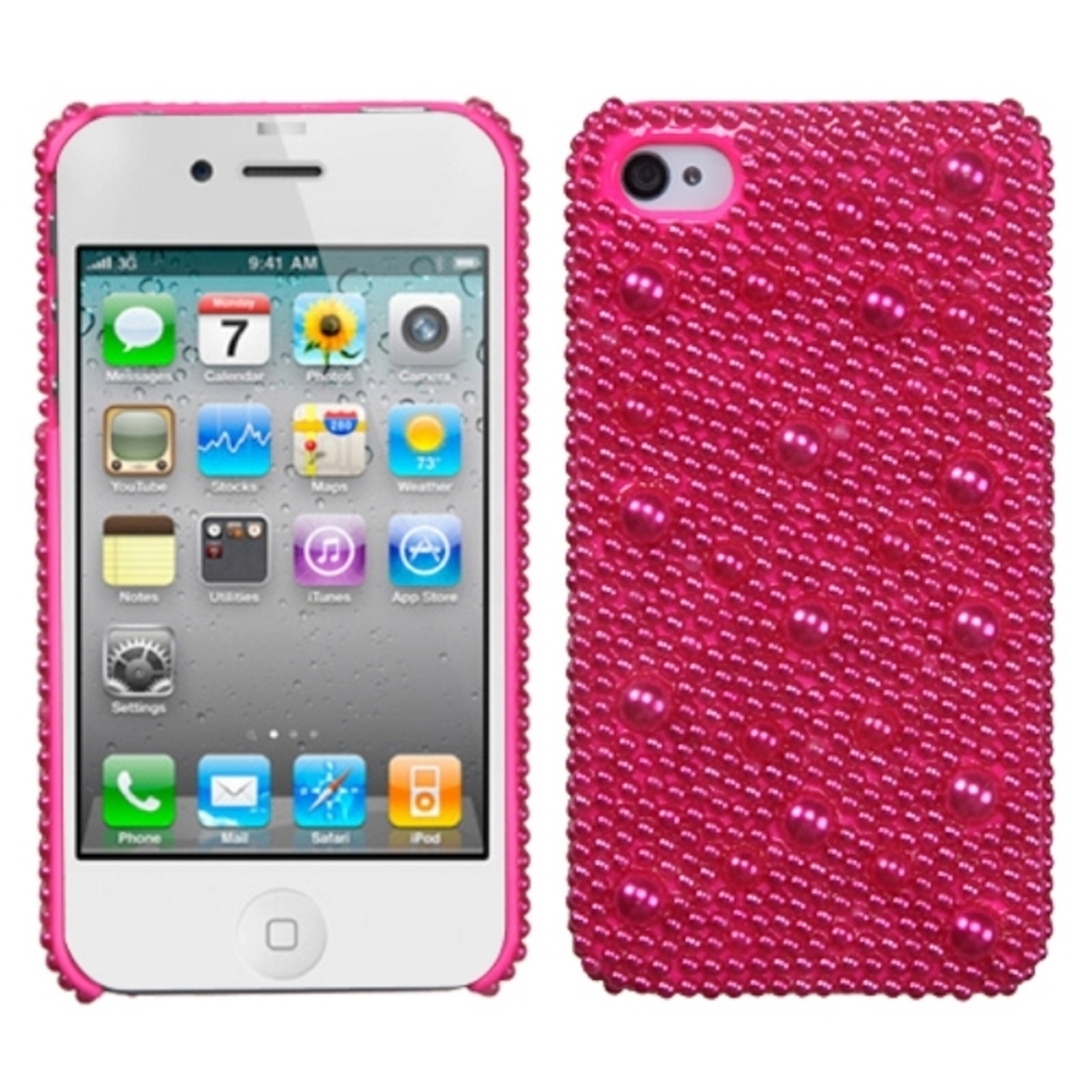 Insten Hot Pink Pearl Diamante Back Case For iPhone 4/4S
