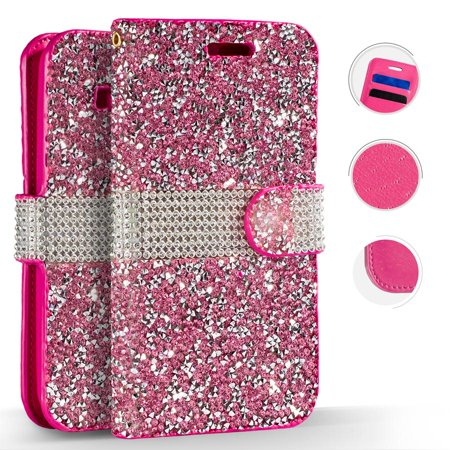 Diamond Pink Motorola Faceplates - Motorola Moto E4 Case, ZV Diamond Bling Flap Cover - Wallet Pouch w/ Credit Card Slots And ID Holder - Slim Fit Protective Wallet Case