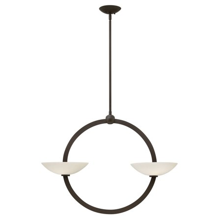Method Vintage Bronze Four Light Chandelier with Etched Opal Glass