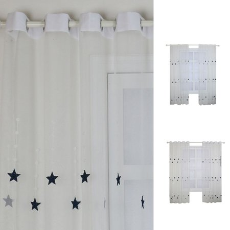 fashionhome Sheer Curtain Black Star Pattern Voile Curtain Panel Living Room Childrem's Bedroom Windows Drape - image 8 of 8