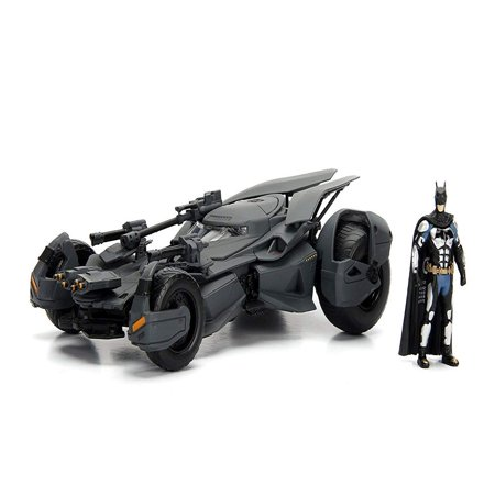"DC Comics Justice League Batmobile Die-cast Car, 1:24 Scale Vehicle & 2.75"" Batman Collectible Figurine 100% Metal 99232, Authentic styling taken directly from Justice.., By JADA TOYS (Justice League Dice)"