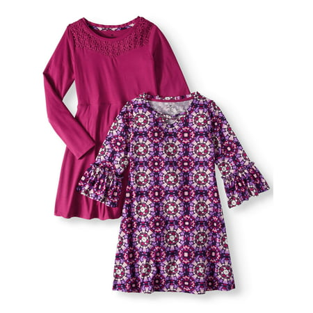 Print and Lace Yoke Stud Soft Knit Dresses, 2-Pack (Little Girls & Big Girls)