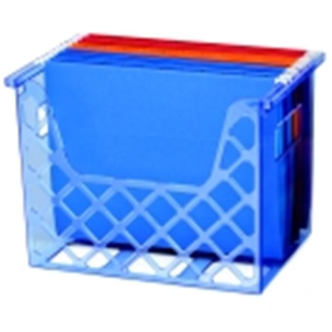 Officemate Portable Desktop File Organizer With Stepped Insert - Transparent Blue