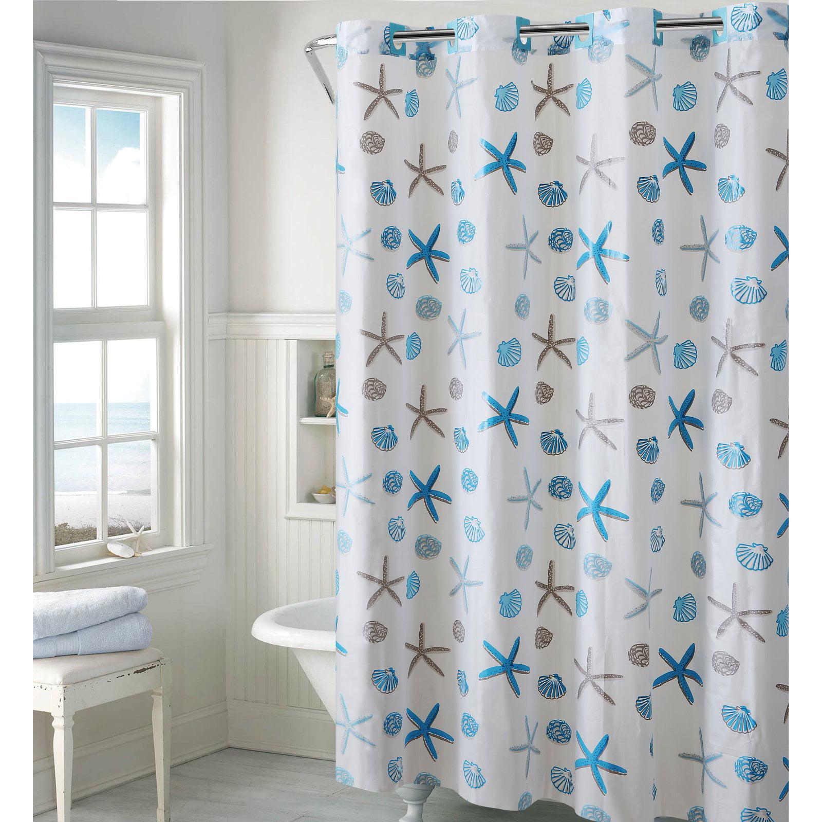 Hookless Blue Gray Seashell PEVA Shower Curtain by Hookless
