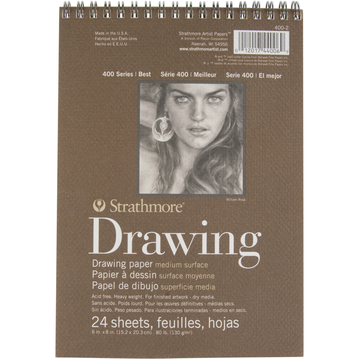 "Strathmore Drawing Medium Paper Pad, 6"" x 8"", 24 Sheets"