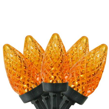 "Set of 50 Orange LED Faceted C7 Halloween Lights 5"" Spacing - Black Wire - Halloween Led Light Show"