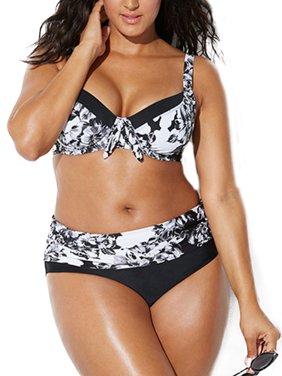 2PCS Women Bikini Set Cut Out Padded Bow Swimsuit Swimming Costume Plus Size