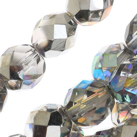 Czech Fire Polished Glass, Faceted Round Beads 8mm, 20 Pieces, Crystal Silver