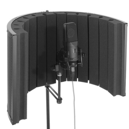 Pyle Mini Portable Vocal Recording Booth - Universal Standard Microphone with Isolat Noise Filter Reflect Shield for Recording Studio Quality Audio - Dual Acoustic Foam Soundproof Panel ()