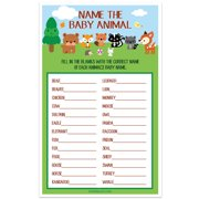 Woodland Creatures Forest Baby Shower Game - Name The Baby Animal - Set of 30