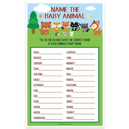 Woodland Creatures Forest Baby Shower Game - Name The Baby Animal - Set of 30](Baby Animal Baby Shower)