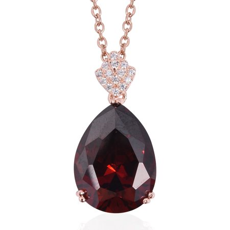 Red and White 14K Rose Gold Over 925 Sterling Silver Pendant Necklace in ION Plated Rose Gold Stainless Steel 20