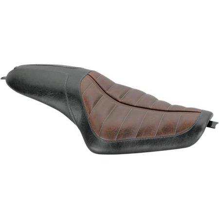 RSD 76919 Enzo 2-Up Seat - Black Distressed Vinyl - Distressed Brown Raised Detailing Black Distressed Seat