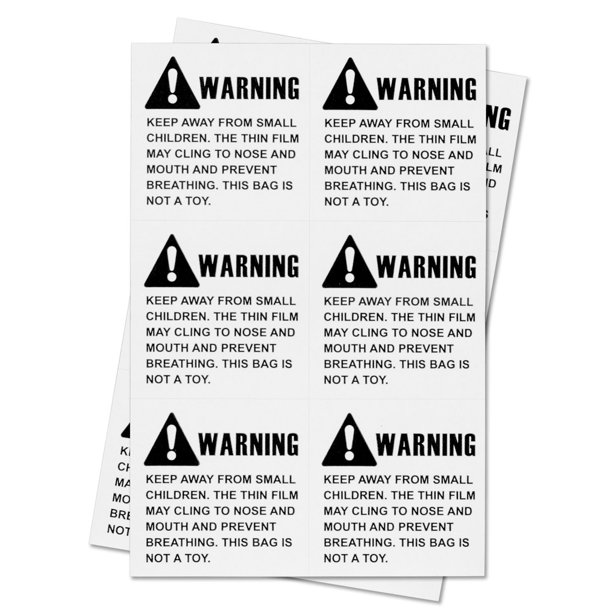 "15 X 30mm Choking Hazard Stickers: OfficeSmartLabels 2"" X 2"" Suffocation Warning Labels For"