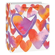 watercolor hearts valentines day gift bag 9 x 7 in