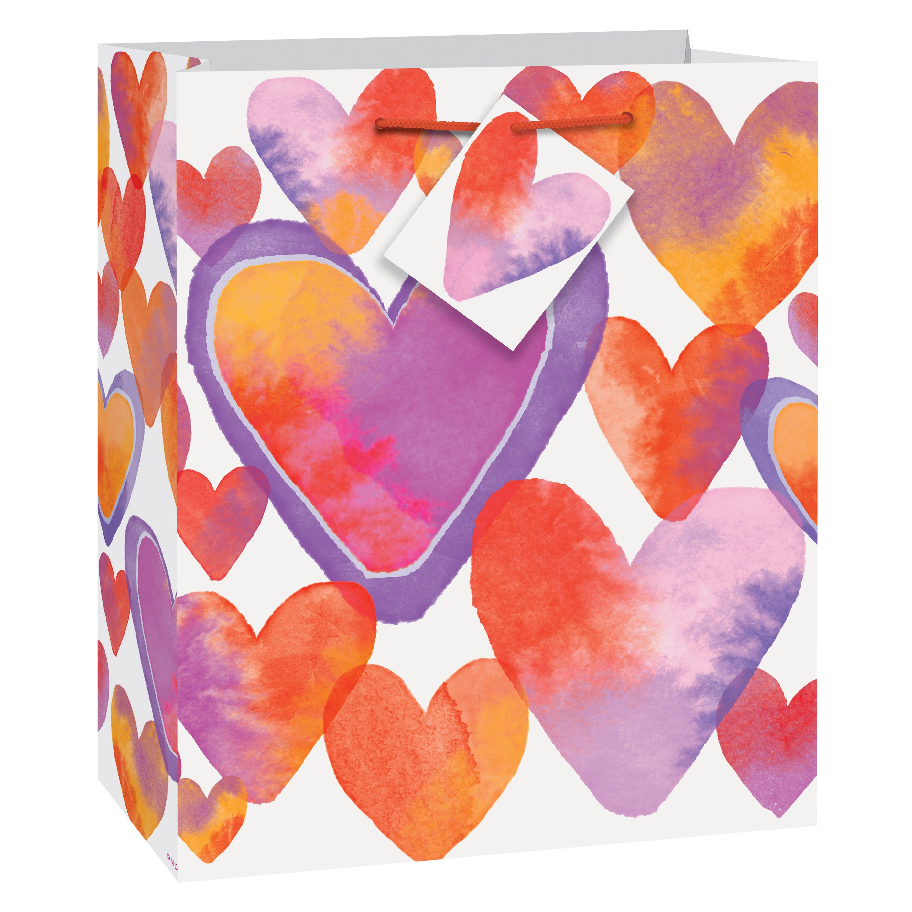 Watercolor Hearts Valentine's Day Gift Bag, 9 x 7 in, 1ct