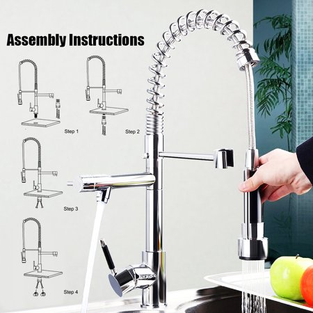 Modern Pull Out Tap Rotate taps Chrome Spring Kitchen Rotatable Spout Sink Mixer Faucet Monobloc Kitchen Taps