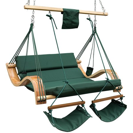 Lazy Daze Hammocks Patio Garden Outdoor Deluxe Oversized Double Hanging Hammock Lounger Chair With Cup Holder Footrest Hardware