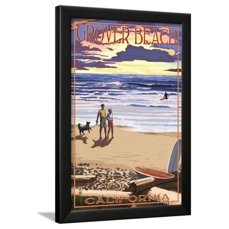 Grover Beach, California - Sunset Beach Scene Framed Print Wall Art By Lantern - Emoji Beach Scene