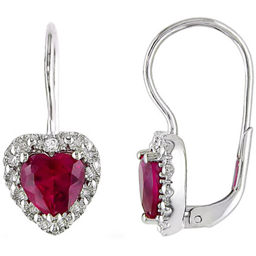 3-1/5 Carat T.G.W. Created Ruby and Diamond Accent Sterling Silver Drop Earrings