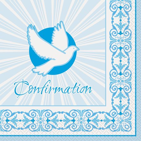 Radiant Cross Confirmation Paper Luncheon Napkins, 6.5 in, Blue, 16ct for $<!---->