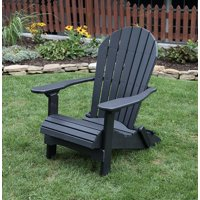 Poly Lumber Rolled Seating Folding Adirondack Chair-Black