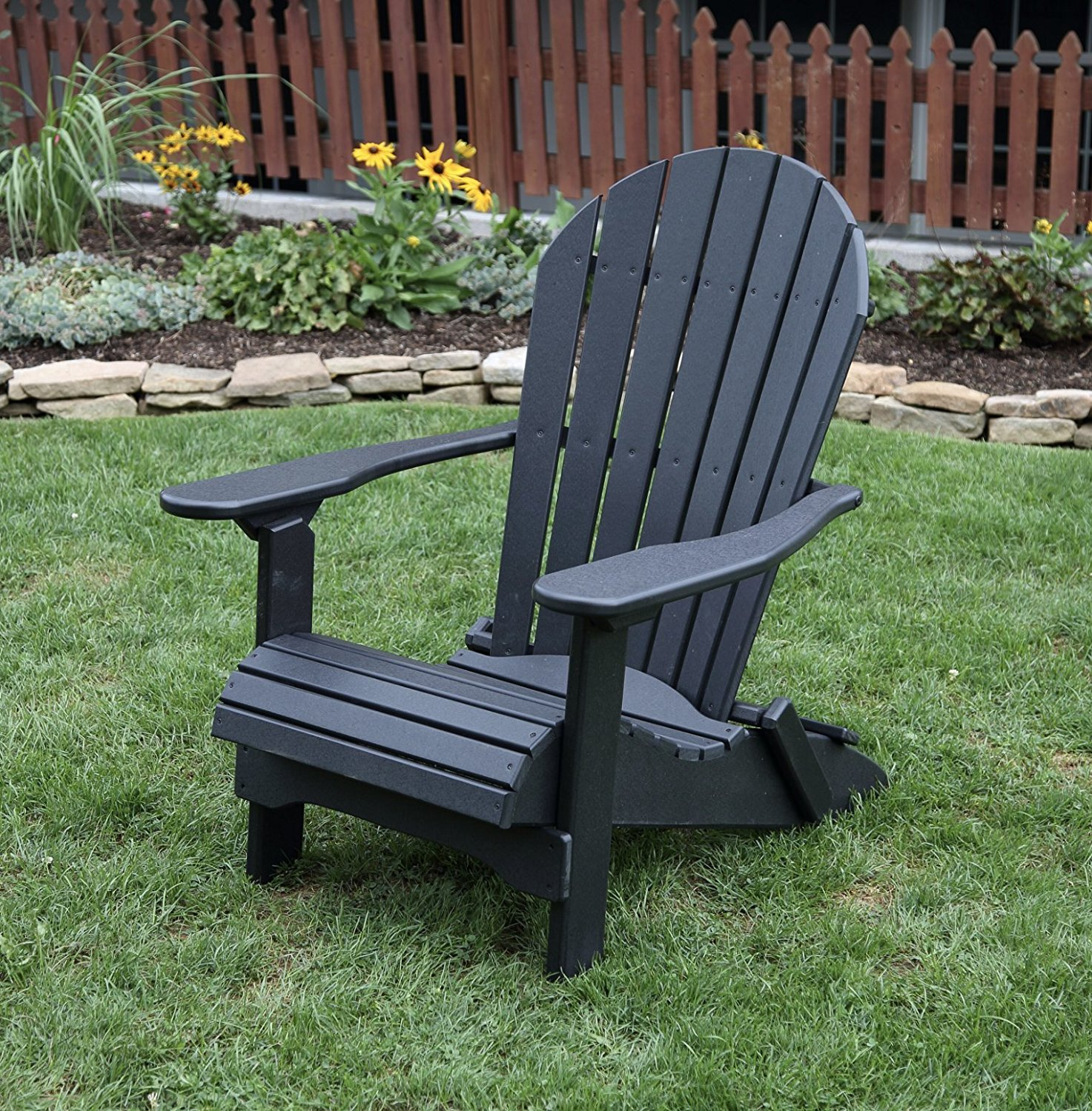 Outdoor Garden Lawn Exterior Black Finish Poly Lumber Rolled Seating Heavy Duty Everlasting Amish Crafted Folding Adirondack Chair