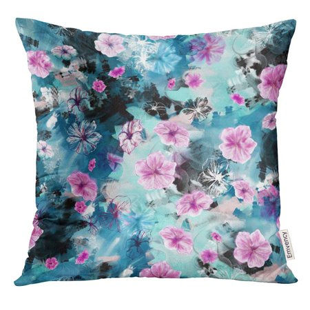 USART Floral Five Petal Summer Flowers Like Rosy Periwinkle Petunia with Mixed Media Pink Blue Purple Contour Pillow Case 16x16 Inches Pillowcase