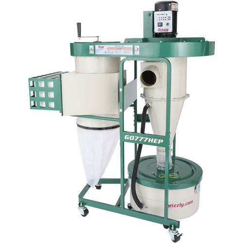 Grizzly Industrial G0777HEP 1-1 2 HP Ultra-Quiet Dual-Filtration HEPA Cyclone Dust Collector by
