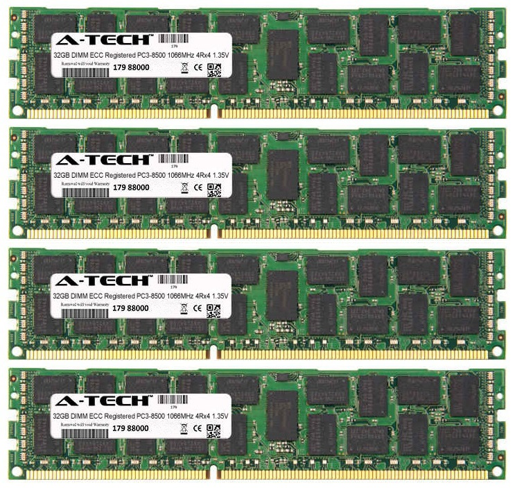128GB Kit 4x 32GB Modules PC3-8500 1066MHz 1.35V 4Rx4 ECC Registered DDR3 DIMM Server 240-pin Memory Ram
