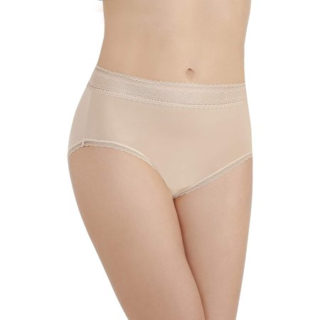 Vanity Fair Womens Flattering Lace Brief Panty, 9, Honey Beige (Flattering Silhouette)