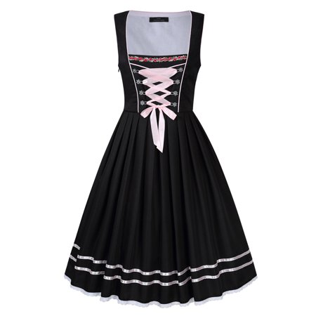 Bavarian Women's Midi Dirndl Dress 3-Pieces+Apron+Blouse - image 6 of 8