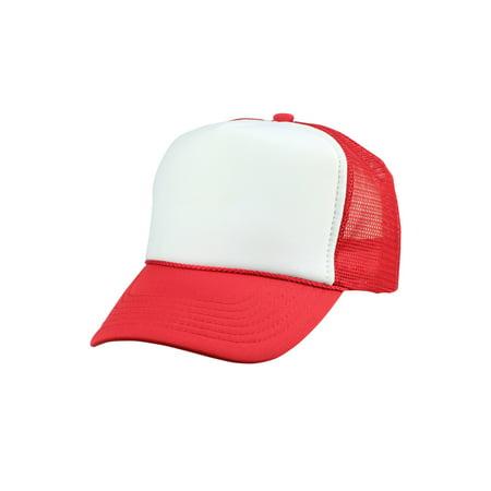 d55b587671a DALIX - DALIX Youth Mesh Trucker Cap Adjustable Hat in Red White -  Walmart.com