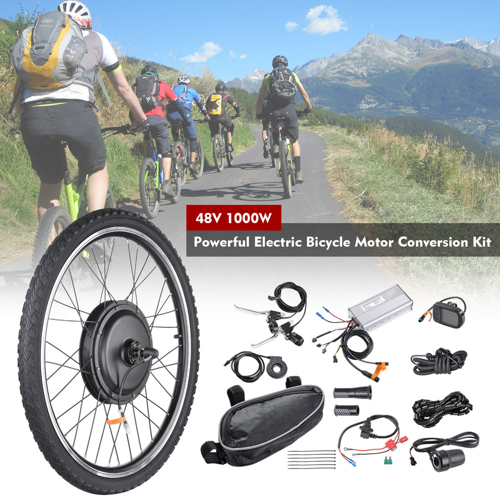 26/'/' Electric Bicycle Kit Motor Bike Conversion Kit 48V 1000W Wheel With LCD